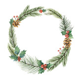Watercolor vector Christmas frame with fir branches and place for text. - 176272672