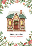 Watercolor vector greeting card with Christmas house, spruce branches and gifts. - 176272696