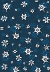 płatki śniegu na niebieskim tle
