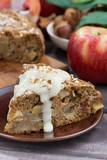 piece of homemade fresh apple pie, vertical closeup