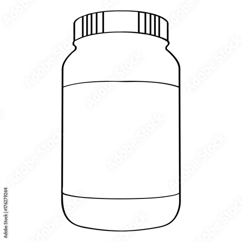 Aluminium Fitness Isolated outline of a bottle of nutritional supplements, Vector illustration