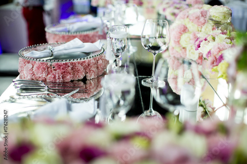 Luxury wedding decoration of the table