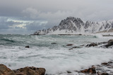Sea on the coast of Andenes in Norway in winter - 176283431