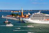 Cruise ship moving through San Marco canal in Venice, Italy - 176292602