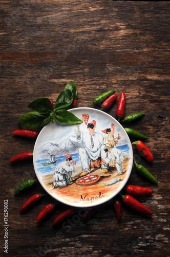 Fotobehang Pizzeria Pizza napoletana ナポリピッツァ Пицца Nápolyi sounding 拿坡里披薩 Neapolitan पिज़्ज़ा 피자 بيتزا napolitaine Italian cuisine Cucina italiana