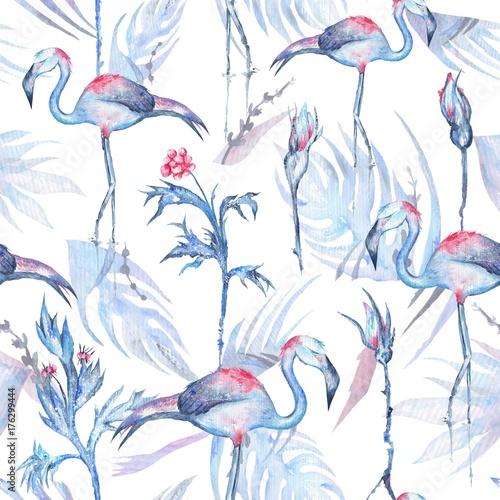 Watercolor Flamingo Pattern - 176299444
