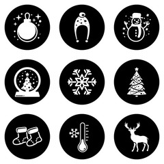 Set of simple icons on a theme Christmas, Happy New Year, Winter, vector, design, collection, flat, sign, symbol,element, object, illustration, isolated. White background