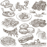 Food. Freehands, hand drawn collection. Line art. - 176303285