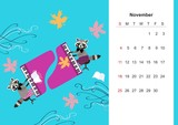 November. Colorful monthly calendar 2018 with cute raccoon. Lovely page design for kids. Musicians at the grand piano among autumnal leaves. - 176307055