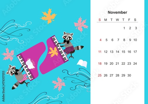 November. Colorful monthly calendar 2018 with cute raccoon. Lovely page design for kids. Musicians at the grand piano among autumnal leaves.