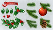 Christmas decorations. Holly, spruce, red berries, christmas bauble, conifer cone. 3d realistic vector icon set - 176307673