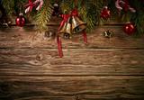 Decorative Christmas background against wood