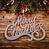 Merry Christmas decorative typography on wood