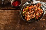 Healthy lean grilled kebabs with roasted veggies