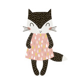 Cute cartoon cat girl in scandinavian style. Childish print for nursery, kids apparel,poster, postcard. Vector Illustration - 176308804