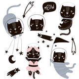 Circus cats astronauts vector clipart. Cute cartoon characters - 176308823