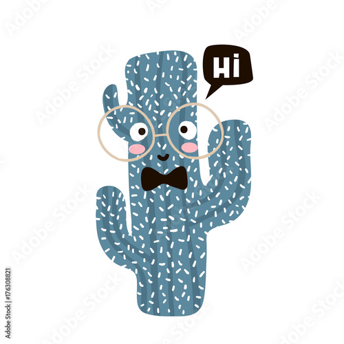 Cute cartoon cactus in glasses. Childish print for nursery, kids apparel,poster, postcard. Vector Illustration - 176308821