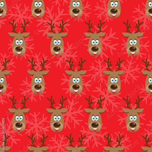 Fotobehang Hipster Hert Christmas seamless pattern with deers
