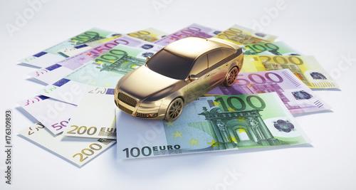 Auto in Gold auf Geldscheinen - Finanzierung