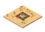 Isometric view of a desert farm - 176310614