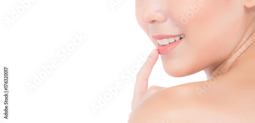 Beauty asian young woman with clean fresh skin touch lips Poster