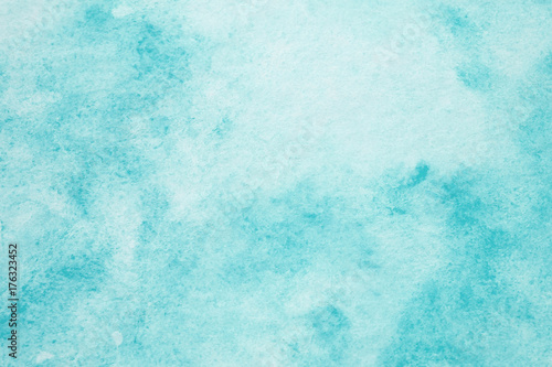 Blue abstract watercolor painting textured on white paper background - 176323452