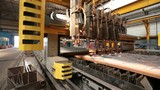 Robotics work in production line of car parts at factory Metal cutting, sparks fly. - 176324492