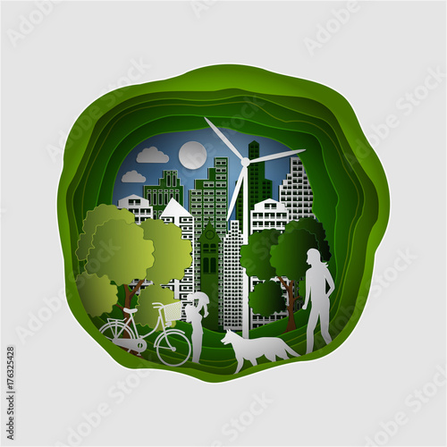 Paper art carving of City with trees and Clouds. Ecology Concept. Vector illustration. - 176325428