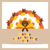 Cute turkey girl on maple leaves and apples wreath vector cartoon illustration for thanksgiving's day card design, wallpaper and greeting card