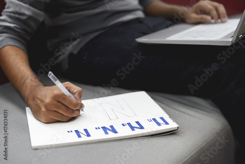 Startup Business People Writing on Notebook Poster