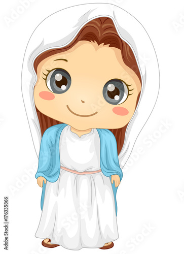 Kid Girl Virgin Mary Costume Illustration