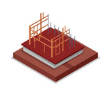 Construction structure of walls isometric 3D icon. Construction stages of countryside house, low poly model of rural real estate building vector illustration. - 176336418