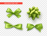 Bows green realistic design. Isolated gift bows with ribbons.