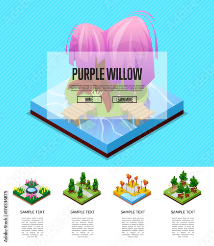 Foto op Canvas Turkoois Public park zone landscape design isometric infographics. Flower bed, pool with water, lawn with green grass and trees, roads and benches. Natural landscape with decorative plants vector illustration