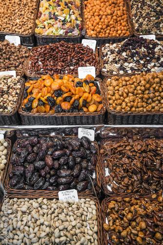Aluminium Barcelona dried fruits and nuts stall la boqueria market barcelona spain