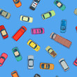 Cartoon style cars on blue background