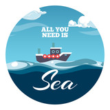 All you need is sea postcard design. Sea illustration with sample text and boat - 176343029