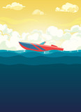 Sea illustration of red boat in dawn - 176343049