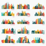 Skyline detailed silhouette set (Barcelona, Madrid, Rome, London, Vienna, Prague, Brussels, Istanbul, Lisbon, Moscow, Warsaw, Amsterdam, Zurich). Travel and tourism background. Vector illustration - 176346074