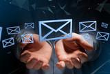 Blue Email symbol displayed on a color background - 3D rendering - 176346456