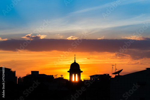 mosque silhouette with beautiful sunset background Poster