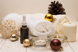 spa concept, wellness objects on wood plant , christmas background. Present holiday