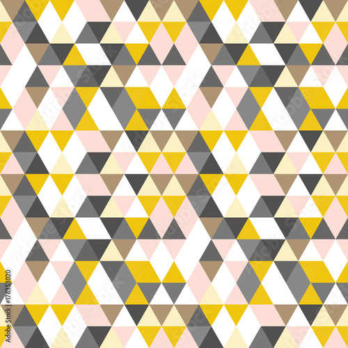 Fototapeta Geometric abstract pattern with triangles in muted retro colors.