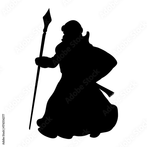 Grandfather frost silhouette new year