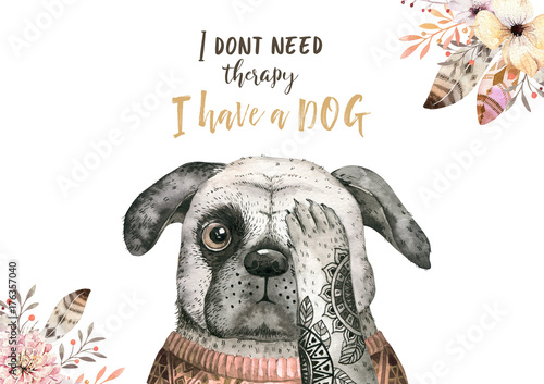 Watercolor closeup portrait of cute dog. Isolated on white background. . Hand drawn sweet home pet. Greeting card animal nursary design decoration - 176357040