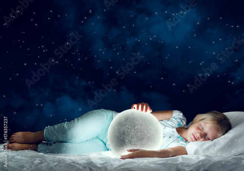 Girl in her bed and moon planet Poster