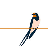 swallow vector illustration style flat side front - 176359800