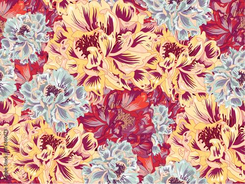 Bright Vintage Blossom Vector Seamless Pattern - 176360673