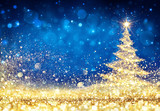 Shiny Christmas Tree - Golden Dust Glittering In The Blue Background - 176361073
