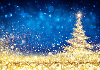 Shiny Christmas Tree - Golden Dust Glittering In The Blue Background